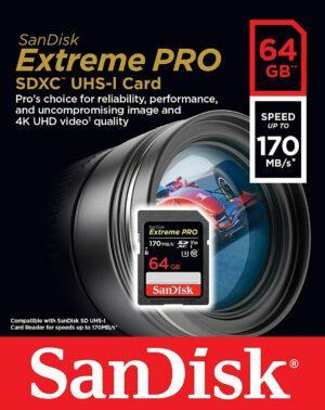 SanDisk Extreme PRO®64GB  SDXC™ UHS-I CARD 170MB/s