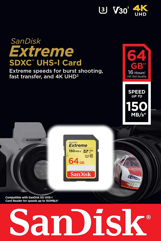 SanDisk Extreme® 64GB  SDXC™ UHS-I CARD 150MB/s