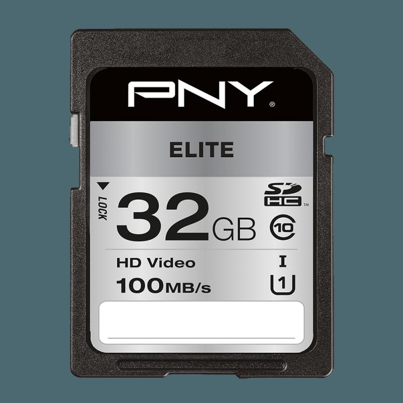 PNY Elite SDHC 32GB SD Card, UHS-I Class 10